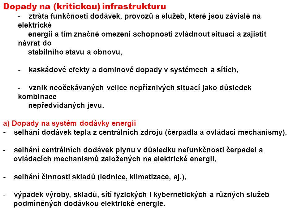 Dopady na (kritickou) infrastrukturu - ztráta funkčnosti dodávek, provozů a služeb, které jsou závislé na elektrické energii a tím značné omezení scho