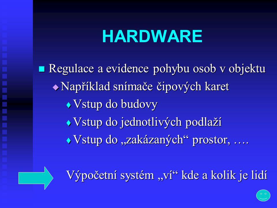 """HARDWARE  Regulace a evidence pohybu osob v objektu  Například snímače čipových karet  Vstup do budovy  Vstup do jednotlivých podlaží  Vstup do """""""
