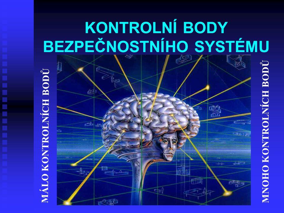 KONTROLNÍ BODY BEZPEČNOSTNÍHO SYSTÉMU MÁLO KONTROLNÍCH BODŮ MNOHO KONTROLNÍCH BODŮ
