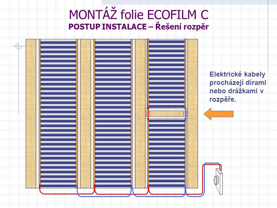 MONTÁŽ folie ECOFILM C POSTUP INSTALACE – Řešení rozpěr Elektrické kabely procházejí dírami nebo drážkami v rozpěře.