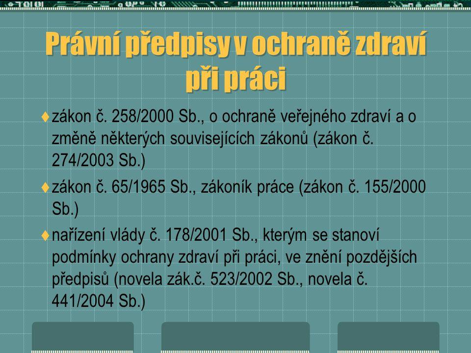 Právní předpisy v ochraně zdraví při práci  zákon č.