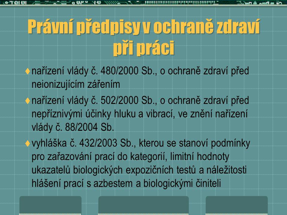 Právní předpisy v ochraně zdraví při práci  nařízení vlády č.