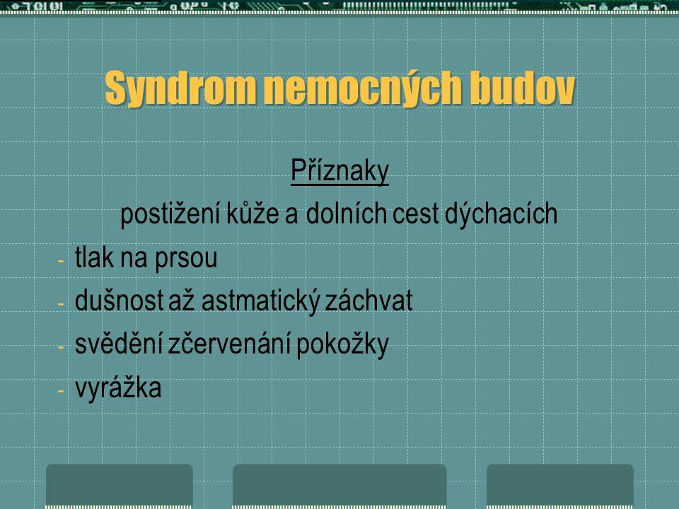 Syndrom nemocných budov Příznaky postižení kůže a dolních cest dýchacích - tlak na prsou - dušnost až astmatický záchvat - svědění zčervenání pokožky - vyrážka