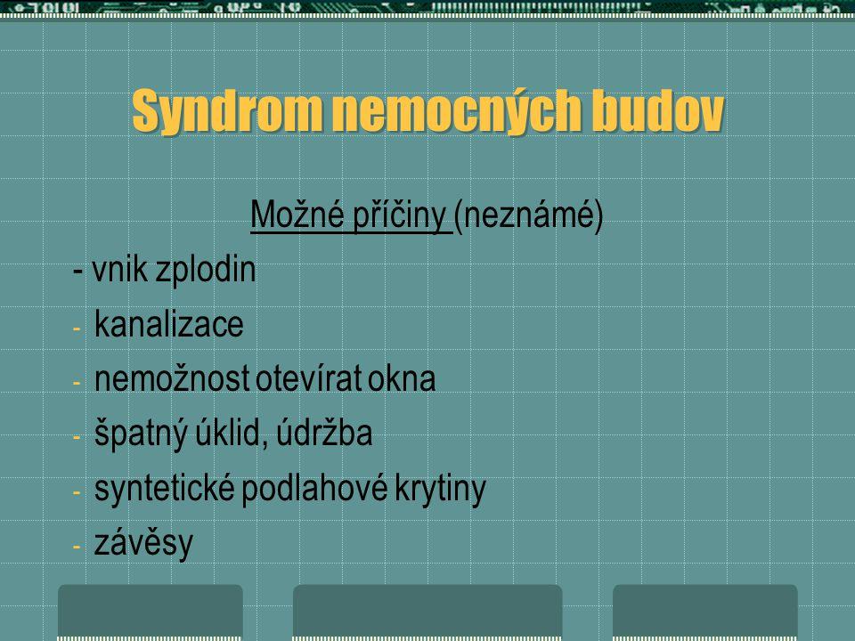 Syndrom nemocných budov Možné příčiny (neznámé) - vnik zplodin - kanalizace - nemožnost otevírat okna - špatný úklid, údržba - syntetické podlahové krytiny - závěsy