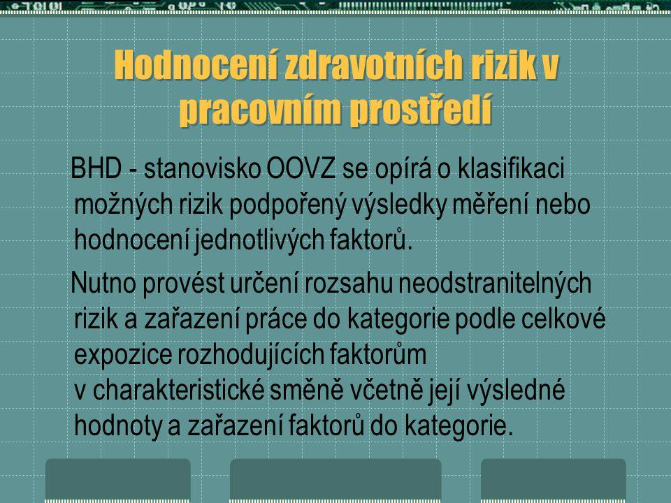 Hodnocení zdravotních rizik v pracovním prostředí BHD - stanovisko OOVZ se opírá o klasifikaci možných rizik podpořený výsledky měření nebo hodnocení jednotlivých faktorů.