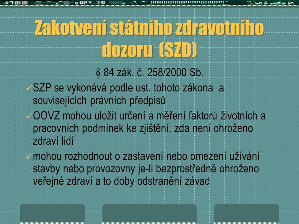 Zakotvení státního zdravotního dozoru (SZD) § 84 zák.
