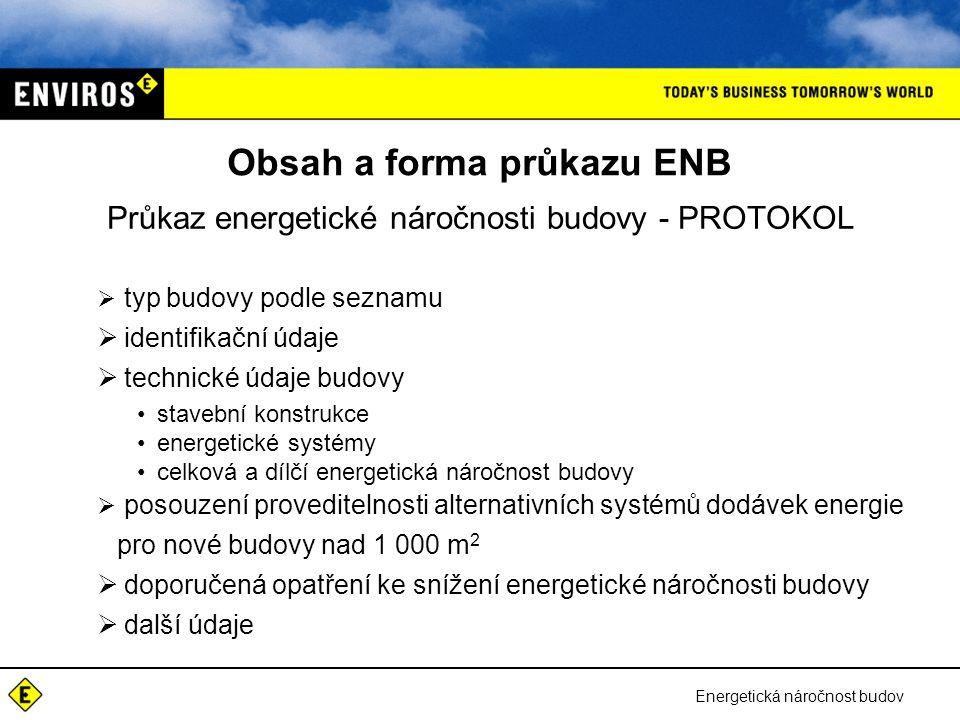 Energetická náročnost budov Obsah a forma průkazu ENB Průkaz energetické náročnosti budovy - PROTOKOL  typ budovy podle seznamu  identifikační údaje