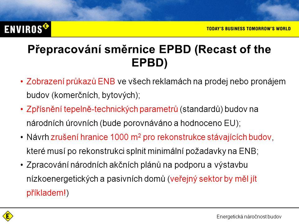 Energetická náročnost budov Přepracování směrnice EPBD (Recast of the EPBD) •Zobrazení průkazů ENB ve všech reklamách na prodej nebo pronájem budov (k