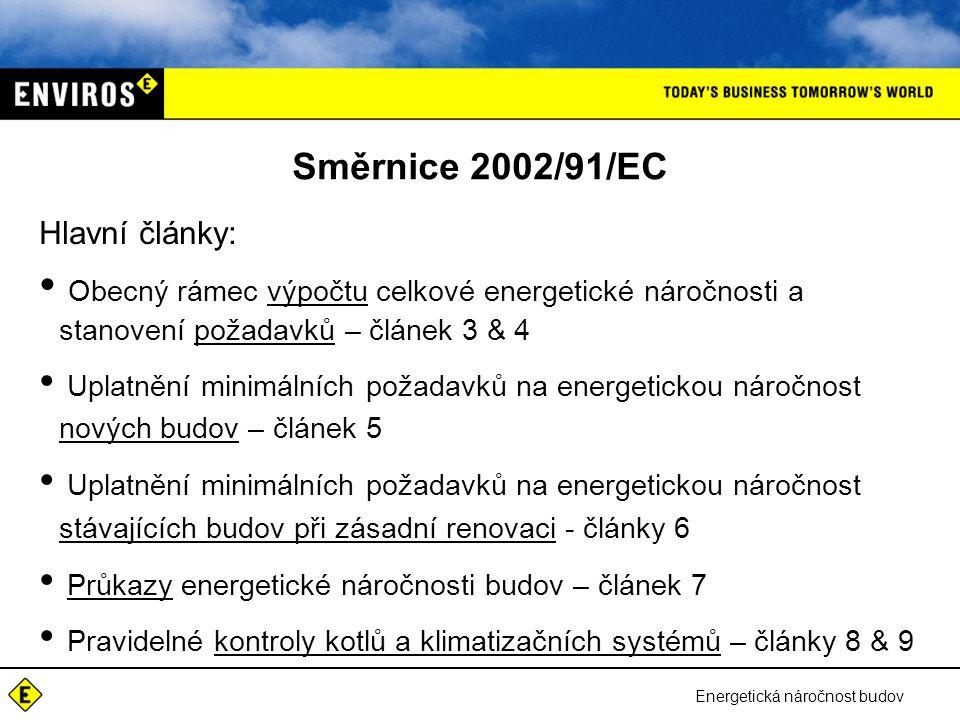Energetická náročnost budov Směrnice 2002/91/EC Hlavní články: • Obecný rámec výpočtu celkové energetické náročnosti a stanovení požadavků – článek 3