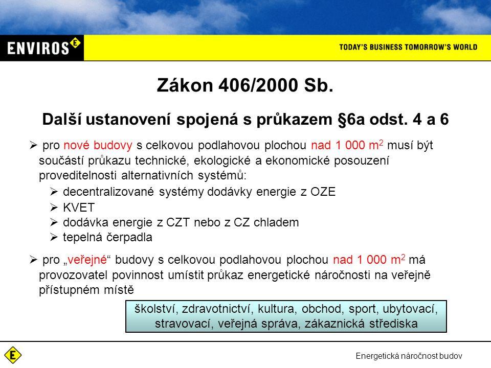 Energetická náročnost budov Zákon 406/2000 Sb. Další ustanovení spojená s průkazem §6a odst. 4 a 6  pro nové budovy s celkovou podlahovou plochou nad