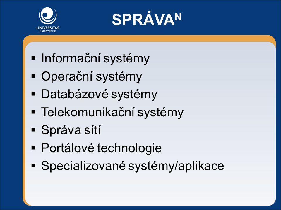 SPRÁVA N  Informační systémy  Operační systémy  Databázové systémy  Telekomunikační systémy  Správa sítí  Portálové technologie  Specializované systémy/aplikace