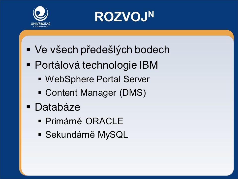 ROZVOJ N  Ve všech předešlých bodech  Portálová technologie IBM  WebSphere Portal Server  Content Manager (DMS)  Databáze  Primárně ORACLE  Sekundárně MySQL