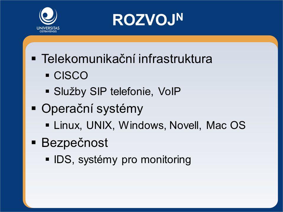 ROZVOJ N  Telekomunikační infrastruktura  CISCO  Služby SIP telefonie, VoIP  Operační systémy  Linux, UNIX, Windows, Novell, Mac OS  Bezpečnost  IDS, systémy pro monitoring
