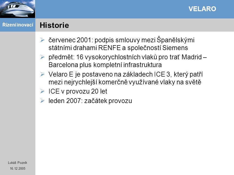 Lukáš Pozník 16.12.2005 Řízení inovací VELARO Historie  červenec 2001: podpis smlouvy mezi Španělskými státními drahami RENFE a společností Siemens 