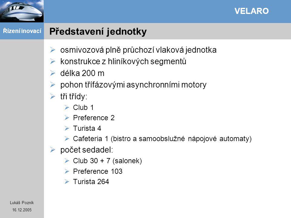 Lukáš Pozník 16.12.2005 Řízení inovací VELARO Představení jednotky  osmivozová plně průchozí vlaková jednotka  konstrukce z hliníkových segmentů  d