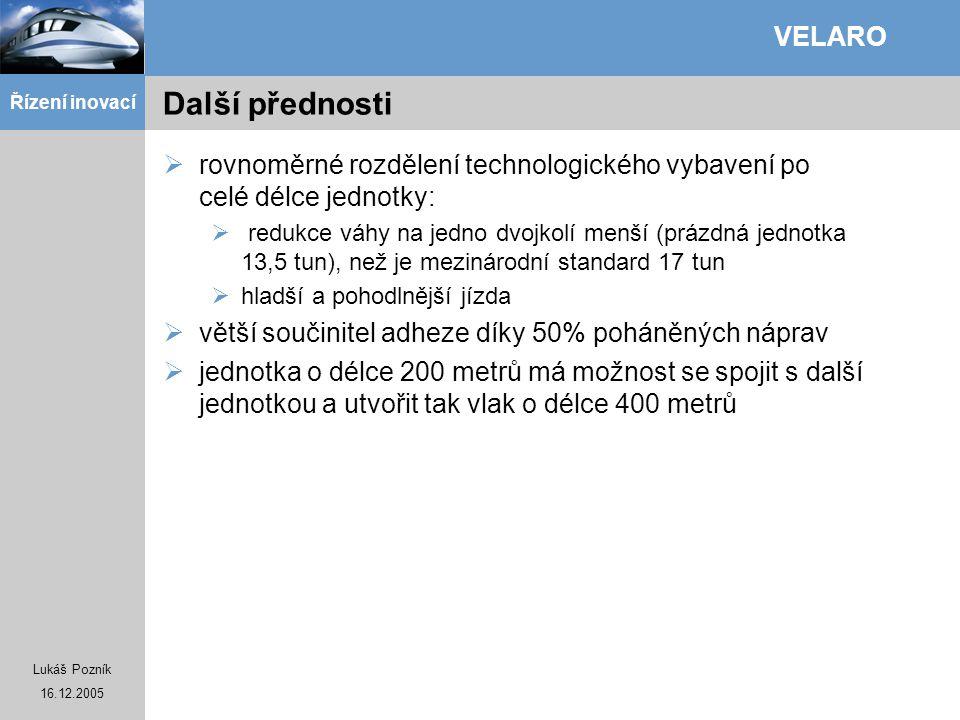 Lukáš Pozník 16.12.2005 Řízení inovací VELARO Další přednosti  rovnoměrné rozdělení technologického vybavení po celé délce jednotky:  redukce váhy n