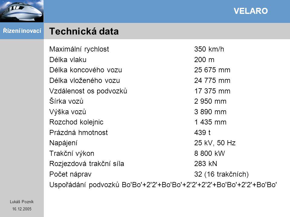 Lukáš Pozník 16.12.2005 Řízení inovací VELARO Technická data Maximální rychlost350 km/h Délka vlaku200 m Délka koncového vozu25 675 mm Délka vloženého