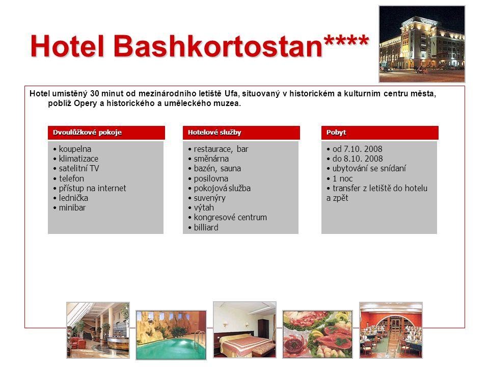 L. Hotel Bashkortostan**** Hotel umístěný 30 minut od mezinárodního letiště Ufa, situovaný v historickém a kulturním centru města, poblíž Opery a hist