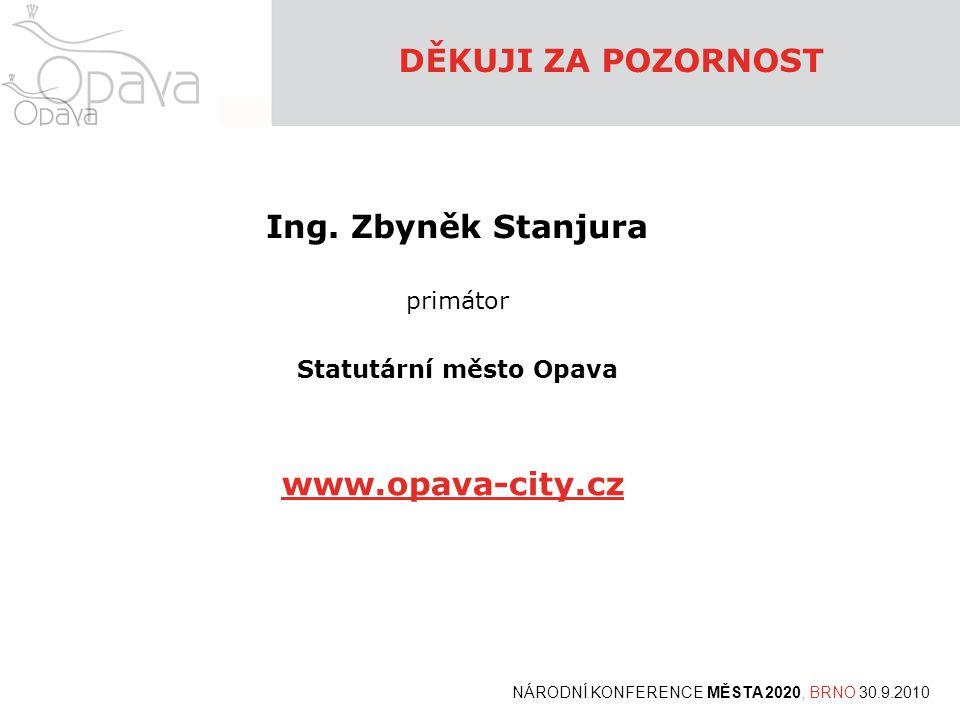 Ing. Zbyněk Stanjura primátor Statutární město Opava DĚKUJI ZA POZORNOST www.opava-city.cz NÁRODNÍ KONFERENCE MĚSTA 2020, BRNO 30.9.2010