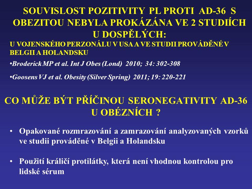 CO MŮŽE BÝT PŘÍČINOU SERONEGATIVITY AD-36 U OBÉZNÍCH ? •Opakované rozmrazování a zamrazování analyzovaných vzorků ve studii prováděné v Belgii a Holan