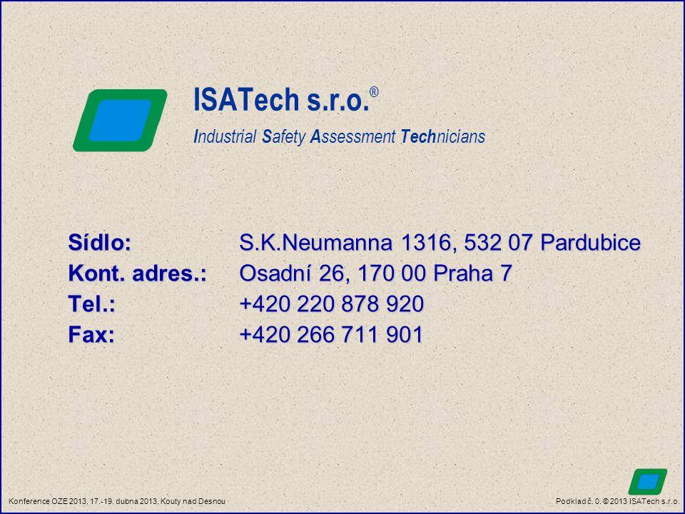 Podklad č. 0. © 2013 ISATech s.r.o.Konference OZE 2013, 17.-19. dubna 2013, Kouty nad Desnou ISATech s.r.o. ® I ndustrial S afety A ssessment Tech nic
