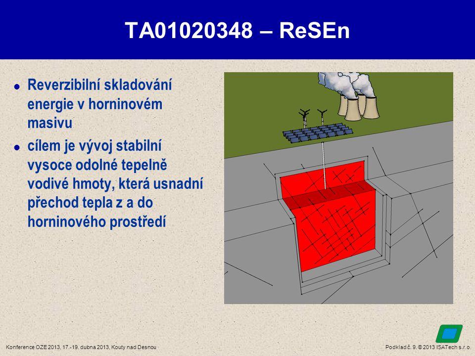 Podklad č. 9. © 2013 ISATech s.r.o.Konference OZE 2013, 17.-19. dubna 2013, Kouty nad Desnou TA01020348 – ReSEn  Reverzibilní skladování energie v ho