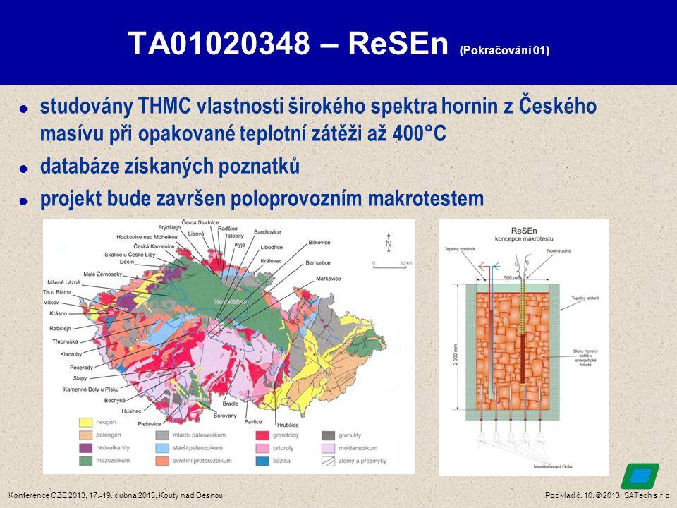 Podklad č. 10. © 2013 ISATech s.r.o.Konference OZE 2013, 17.-19. dubna 2013, Kouty nad Desnou TA01020348 – ReSEn (Pokračování 01)  studovány THMC vla