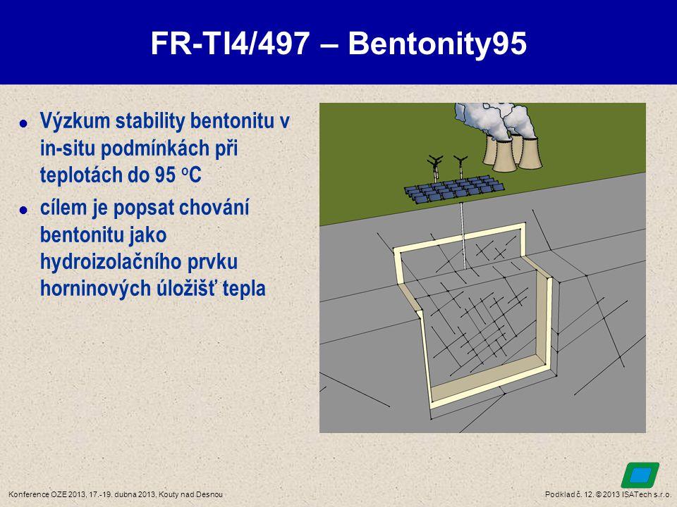 Podklad č. 12. © 2013 ISATech s.r.o.Konference OZE 2013, 17.-19. dubna 2013, Kouty nad Desnou FR-TI4/497 – Bentonity95  Výzkum stability bentonitu v