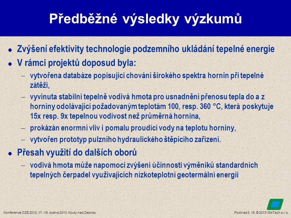 Podklad č. 18. © 2013 ISATech s.r.o.Konference OZE 2013, 17.-19. dubna 2013, Kouty nad Desnou Předběžné výsledky výzkumů  Zvýšení efektivity technolo