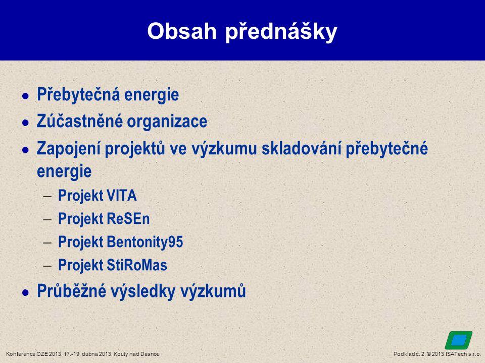 Podklad č. 2. © 2013 ISATech s.r.o.Konference OZE 2013, 17.-19. dubna 2013, Kouty nad Desnou Obsah přednášky  Přebytečná energie  Zúčastněné organiz