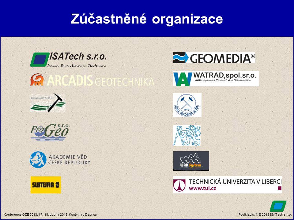 Podklad č. 4. © 2013 ISATech s.r.o.Konference OZE 2013, 17.-19. dubna 2013, Kouty nad Desnou Zúčastněné organizace