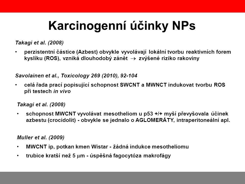 Muller et al. (2009) •MWCNT ip, potkan kmen Wistar - žádná indukce mesotheliomu •trubice kratší než 5  m - úspěšná fagocytóza makrofágy Karcinogenní