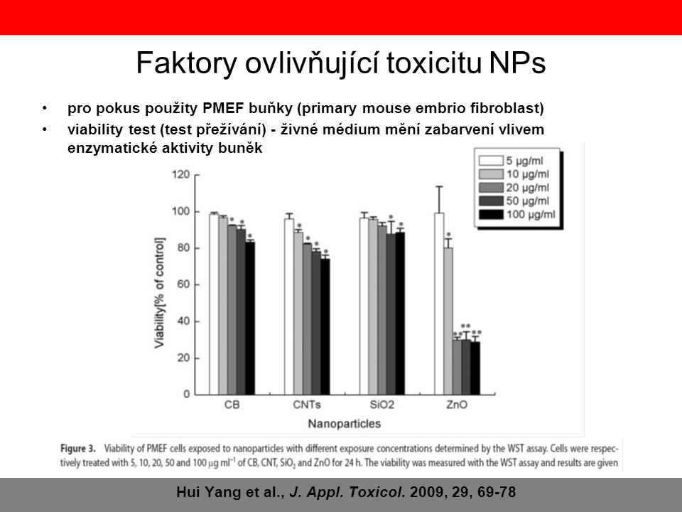 Hui Yang et al., J. Appl. Toxicol. 2009, 29, 69-78 •pro pokus použity PMEF buňky (primary mouse embrio fibroblast) •viability test (test přežívání) -