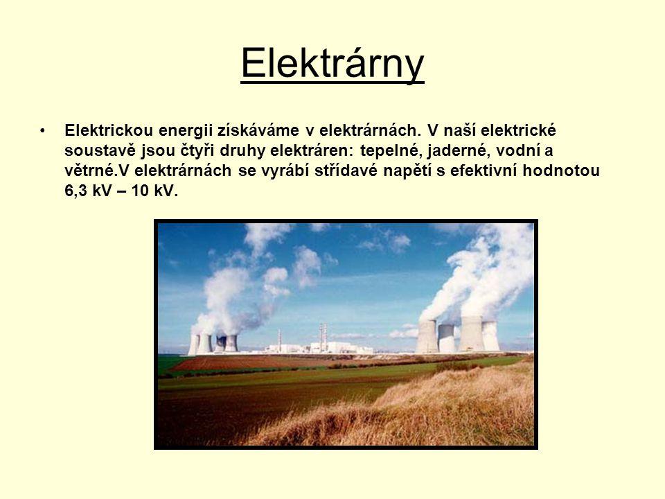 Elektrárny •Elektrickou energii získáváme v elektrárnách. V naší elektrické soustavě jsou čtyři druhy elektráren: tepelné, jaderné, vodní a větrné.V e