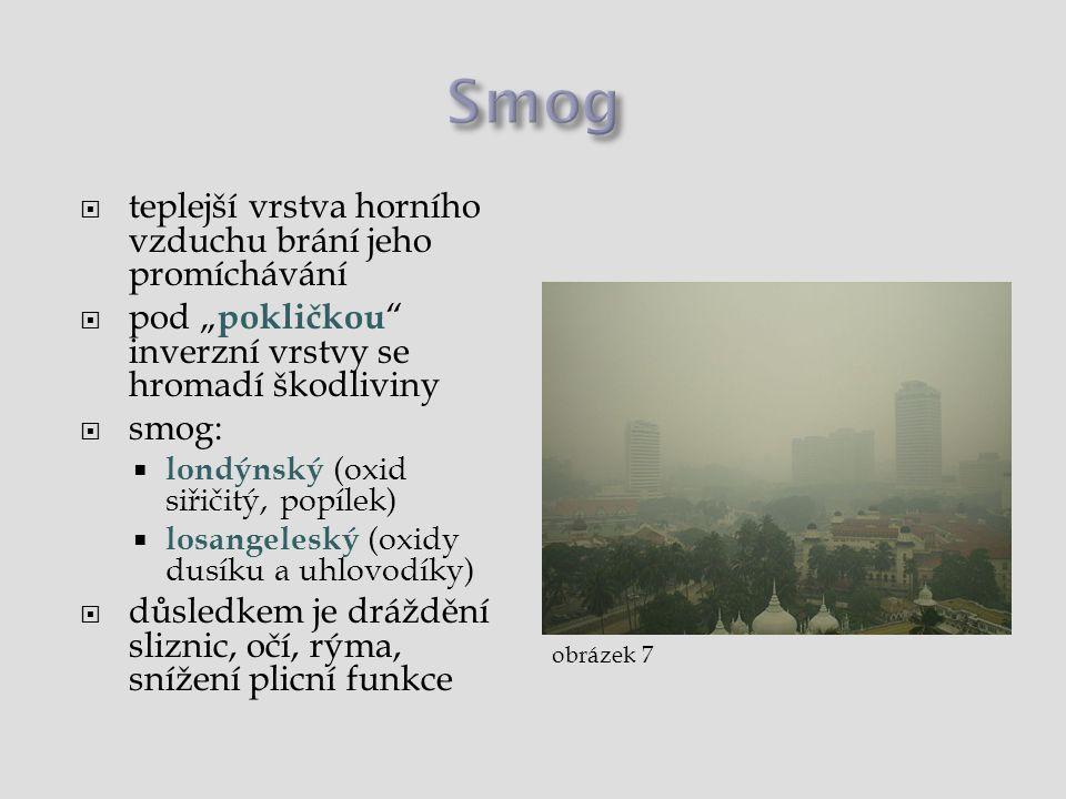 """ teplejší vrstva horního vzduchu brání jeho promíchávání  pod """" pokličkou """" inverzní vrstvy se hromadí škodliviny  smog:  londýnský (oxid siřičitý"""