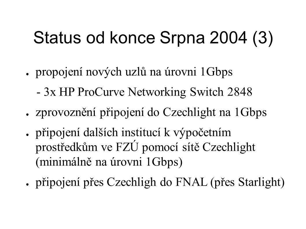 Status od konce Srpna 2004 (3) ● propojení nových uzlů na úrovni 1Gbps - 3x HP ProCurve Networking Switch 2848 ● zprovoznění připojení do Czechlight na 1Gbps ● připojení dalších institucí k výpočetním prostředkům ve FZÚ pomocí sítě Czechlight (minimálně na úrovni 1Gbps) ● připojení přes Czechligh do FNAL (přes Starlight)