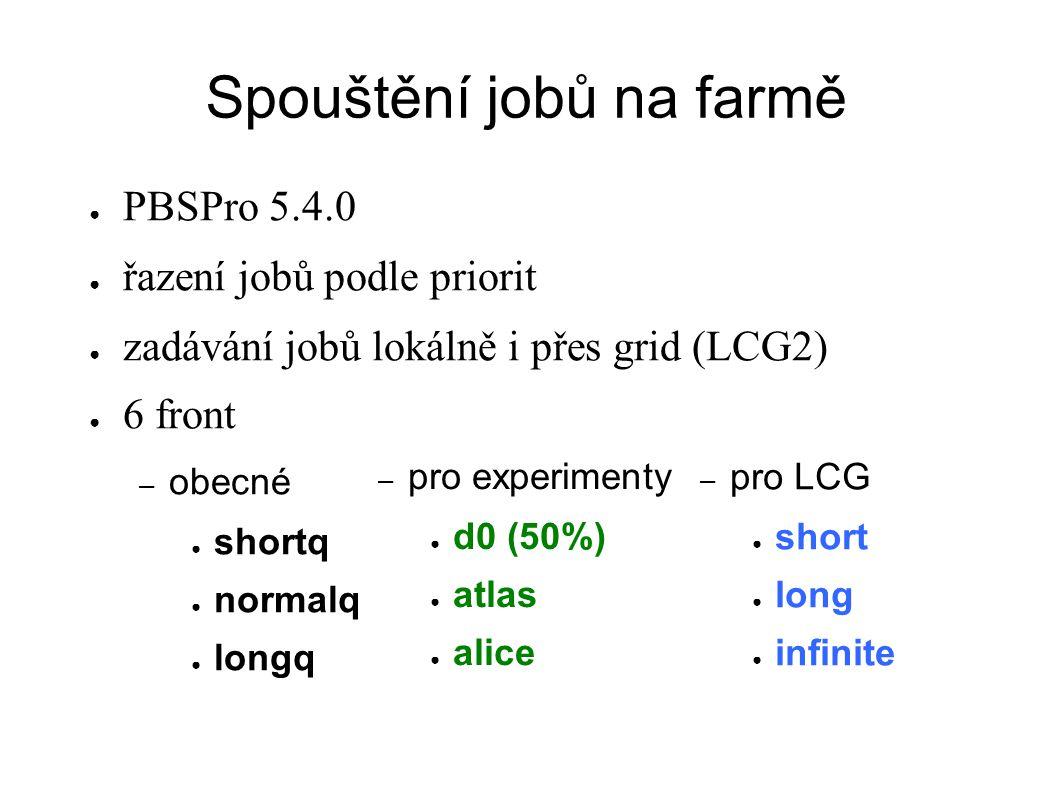 Spouštění jobů na farmě ● PBSPro 5.4.0 ● řazení jobů podle priorit ● zadávání jobů lokálně i přes grid (LCG2) ● 6 front – obecné ● shortq ● normalq ●