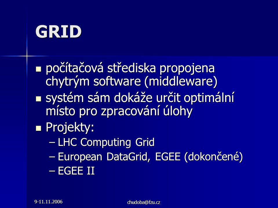 9-11.11.2006 chudoba@fzu.cz GRID  počítačová střediska propojena chytrým software (middleware)  systém sám dokáže určit optimální místo pro zpracování úlohy  Projekty: –LHC Computing Grid –European DataGrid, EGEE (dokončené) –EGEE II