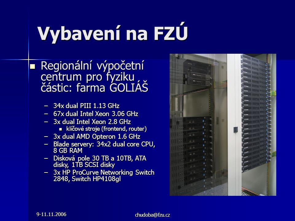9-11.11.2006 chudoba@fzu.cz  Regionální výpočetní centrum pro fyziku částic: farma GOLIÁŠ –34x dual PIII 1.13 GHz –67x dual Intel Xeon 3.06 GHz –3x dual Intel Xeon 2.8 GHz  klíčové stroje (frontend, router) –3x dual AMD Opteron 1.6 GHz –Blade servery: 34x2 dual core CPU, 8 GB RAM –Disková pole 30 TB a 10TB, ATA disky, 1TB SCSI disky –3x HP ProCurve Networking Switch 2848, Switch HP4108gl Vybavení na FZÚ