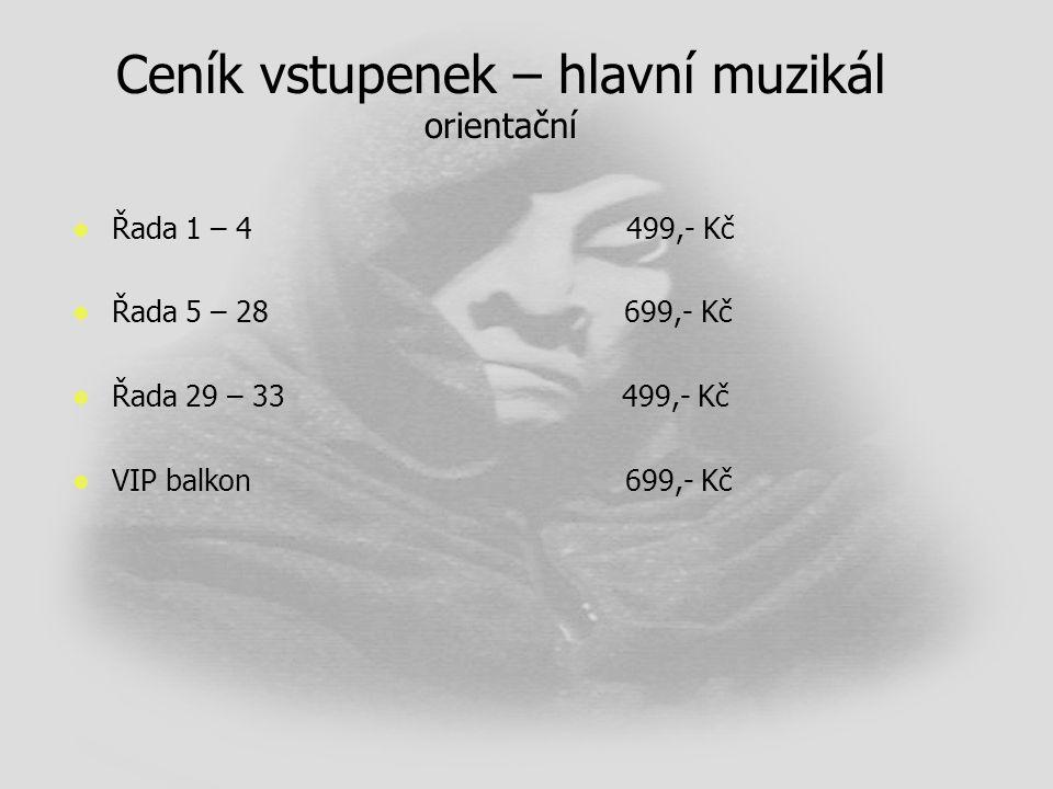 Ceník vstupenek – hlavní muzikál orientační   Řada 1 – 4 499,- Kč   Řada 5 – 28 699,- Kč   Řada 29 – 33 499,- Kč   VIP balkon 699,- Kč