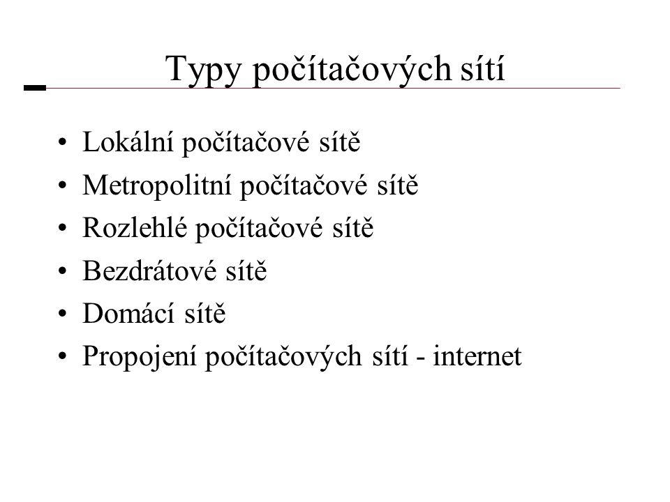 Typy počítačových sítí •Lokální počítačové sítě •Metropolitní počítačové sítě •Rozlehlé počítačové sítě •Bezdrátové sítě •Domácí sítě •Propojení počítačových sítí - internet