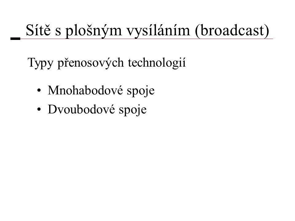 Sítě s plošným vysíláním (broadcast) •Mnohabodové spoje •Dvoubodové spoje Typy přenosových technologií