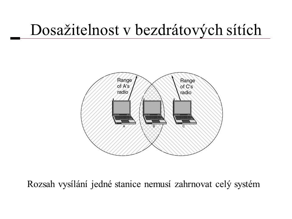 Dosažitelnost v bezdrátových sítích Rozsah vysílání jedné stanice nemusí zahrnovat celý systém