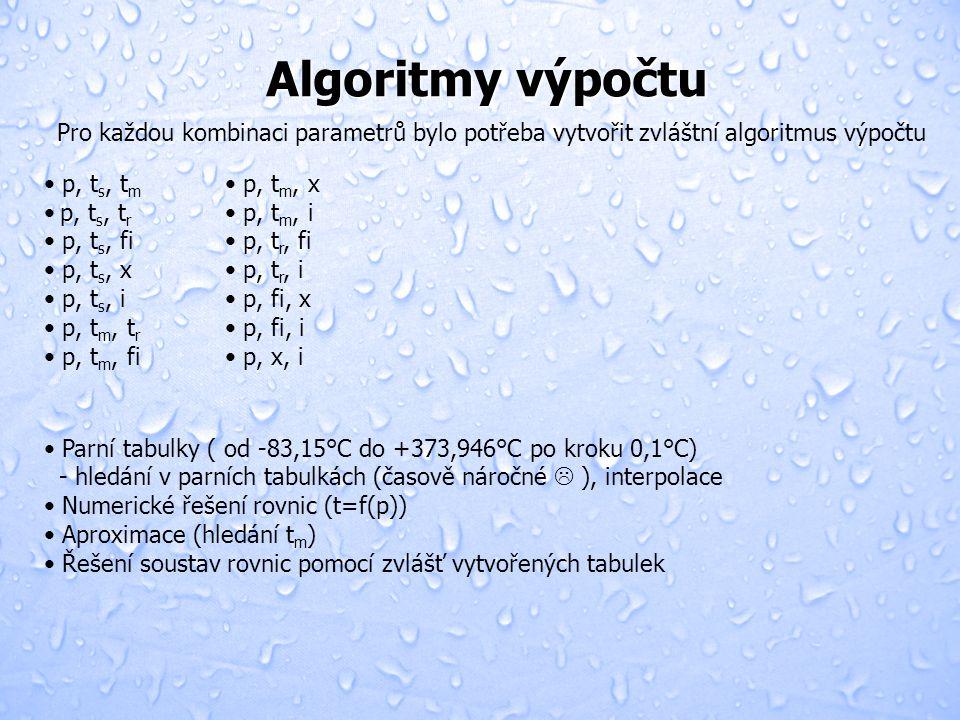 Algoritmy výpočtu • p, t s, t m • p, t s, t r • p, t s, fi • p, t s, x • p, t s, i • p, t m, t r • p, t m, fi Pro každou kombinaci parametrů bylo potřeba vytvořit zvláštní algoritmus výpočtu • Parní tabulky ( od -83,15°C do +373,946°C po kroku 0,1°C) - hledání v parních tabulkách (časově náročné  ), interpolace • Numerické řešení rovnic (t=f(p)) • Aproximace (hledání t m ) • Řešení soustav rovnic pomocí zvlášť vytvořených tabulek • p, t m, x • p, t m, i • p, t r, fi • p, t r, i • p, fi, x • p, fi, i • p, x, i