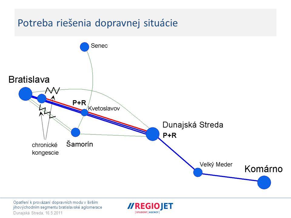 Opatření k provázaní dopravních modu v širším jihovýchodním segmentu bratislavské aglomerace Dunajská Streda, 16.5.2011 Východiska – problém dopravní inverze  Železnice je vhodná pro přenos dopravních momentů: • Dunajská Streda – Bratislava • Velký Meder – Dunajská Streda/Bratislava • Do jisté míry (Šamorín) Kvetoslavov – Bratislava • menší obce s malou docházkovou vzdáleností (Miloslavov, V/M Paka, Okoč, ….) – DS/Bratislava  To znamená, že železnice může zabezpečovat těžiště přepravních vazeb v ose regionu