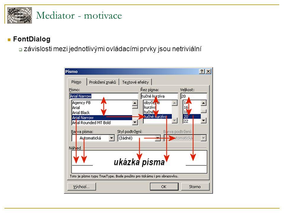 Mediator - motivace  FontDialog  závislosti mezi jednotlivými ovládacími prvky jsou netriviální