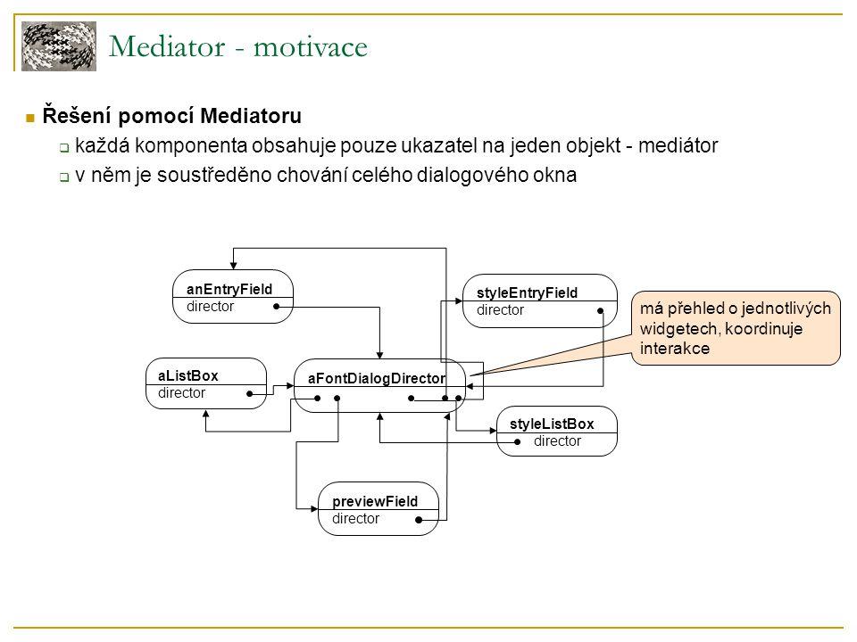  Řešení pomocí Mediatoru  každá komponenta obsahuje pouze ukazatel na jeden objekt - mediátor  v něm je soustředěno chování celého dialogového okna