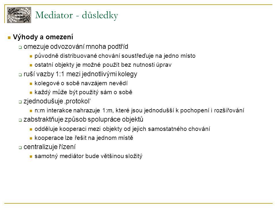 Mediator - důsledky  Výhody a omezení  omezuje odvozování mnoha podtříd  původně distribuované chování soustřeďuje na jedno místo  ostatní objekty