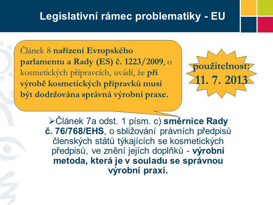 Legislativní rámec problematiky - EU  Článek 7a odst. 1 písm. c) směrnice Rady č. 76/768/EHS, o sbližování právních předpisů členských států týkající