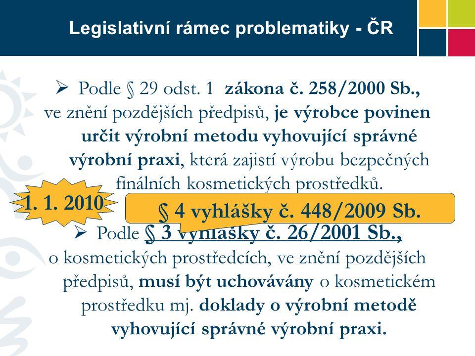 Legislativní rámec problematiky - ČR  Podle § 29 odst. 1 zákona č. 258/2000 Sb., ve znění pozdějších předpisů, je výrobce povinen určit výrobní metod